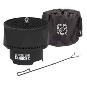 The Ridge NHL 15.7 in. x 12.5 in. Round Steel Wood Pellet Portable Fire Pit with Spark Screen, Poker- Vancouver Canucks