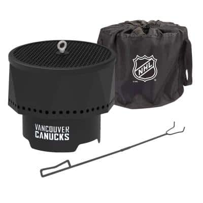 The Ridge NHL 15.7 in. x 12.5 in. Round Steel Wood Pellet Portable Fire Pit with Spark Screen, Poker - Vancouver Canucks