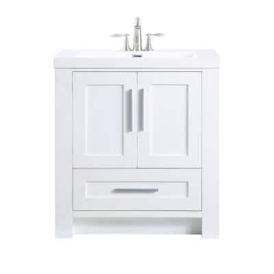 Aubrey 30 in. W x 19 in. D x 34 in. H Bath Vanity in White with Cultured Marble Vanity Top in White with White Basin