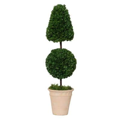 Potted Cone and Ball Faux Boxwood Green/Cream Small Topiary