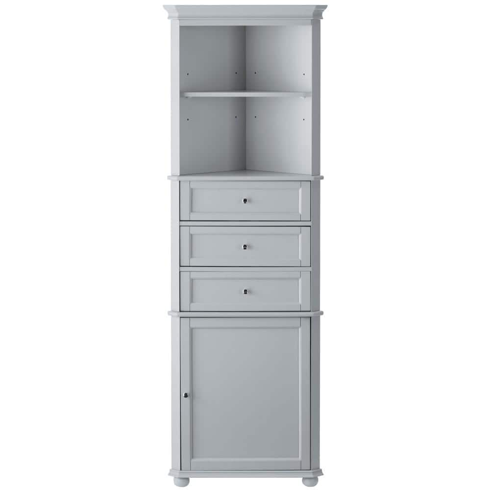 Home Decorators Collection Hampton Harbor 23 In W X 13 In D X 67 1 2 In H Corner Linen Storage Cabinet In Dove Grey Bf 21893 Dg The Home Depot