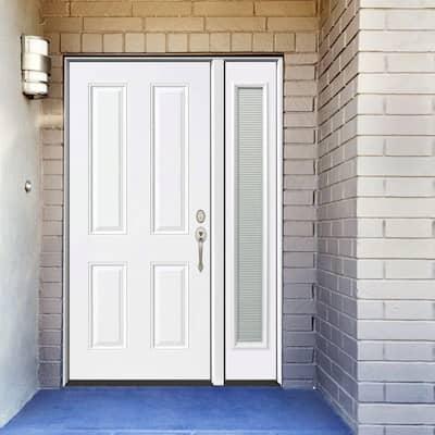 53 in. x 80 in. 4-Panel Primed White Left-Hand Steel Prehung Front Door with 14 in. Mini Blind Sidelite 6 in. Wall