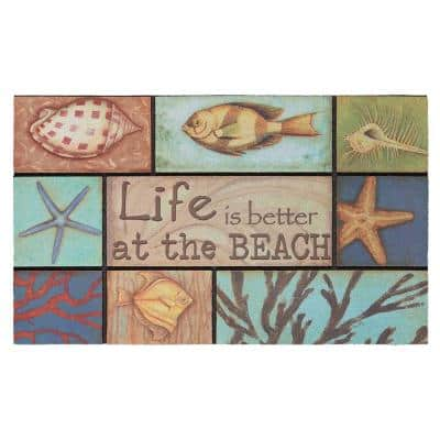 Patchwork Sand and Surf 18 in. x 30 in. Recycled Rubber Door Mat