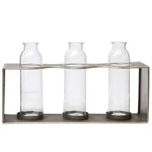 Copper Rectangular Bud Vase Holder with 3 Glass Bottles (Set of 2)