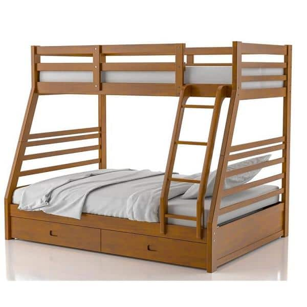 Furniture Of America Daxter Oak Twin Over Full Bunk Bed With Drawers Idf Bk588a The Home Depot
