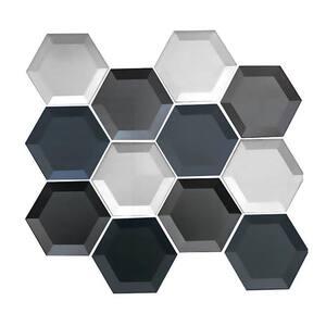 Metallic Gray & Silver Beveled Hexagon Mosaic 3 in. x 3 in. Glossy Glass Decorative Backsplash Wall Tile (0.7 sq. ft.)