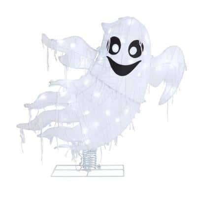2.5 ft. 40-Light LED Cool White Ghost on a Spring Halloween Yard Decoration
