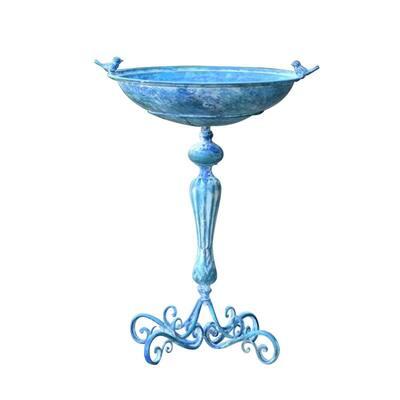 Blue Pedestal Birdbath with Little Bird Detail in Frosted