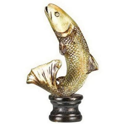 2.75 in. Gold Trout Resin Lamp Finial