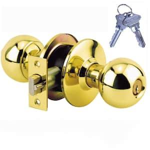 Brass Grade 2 Entry Door Knob with 2 SC1 Keys