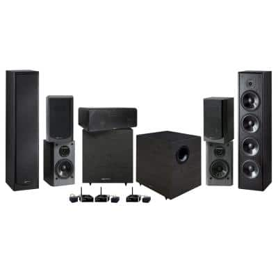 Home Theater Speaker System (7-Piece) with Wireless Transmitter Set