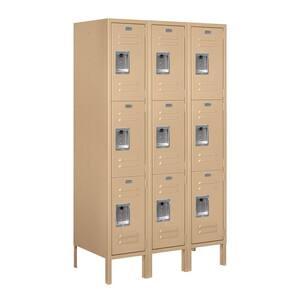 63000 Series 36 in. W x 66 in. H x 18 in. D - Triple Tier Metal Locker Assembled in Tan