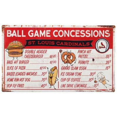St. Louis Cardinals Ball Game Concessions Metal Sign