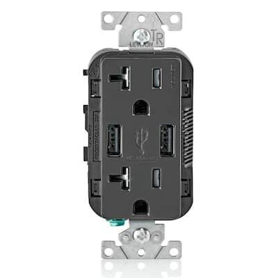 Decora 20 Amp Tamper Resistant Duplex Outlet and 3.6 Amp USB Outlet Charger, Black