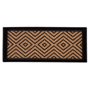 34.5 in. x 14 in. x 1.5 in. Black Metal Boot Tray with Diamond Coir and Rubber Insert