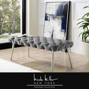 Shannyn Grey/Chrome Velvet Bench with Button Tufted Metal Leg