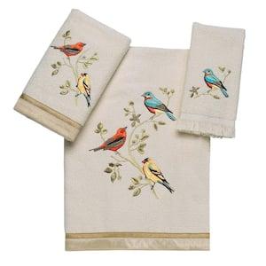 3-Piece Ivory Gilded Birds Cotton Towel Set