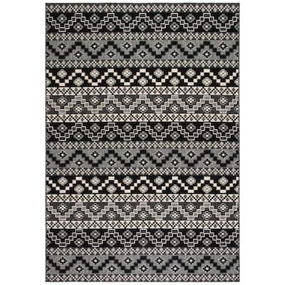Veranda Black/Beige 8 ft. x 10 ft. Aztec Tribal Indoor/Outdoor Area Rug