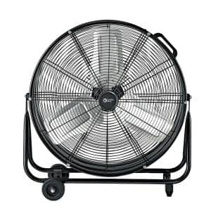 24 in. 2-Speed High-Velocity Industrial Drum Fan with Aluminum Blades and 180-Degree Adjustable Tilt in Black