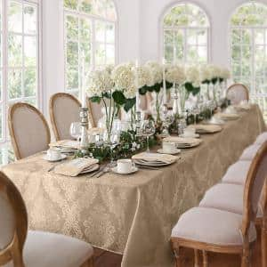60 in. W x 84 in. L Oblong Beige Barcelona Damask Fabric Tablecloth