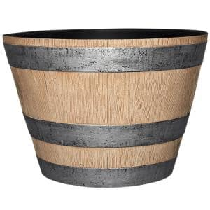 17.7 in. Dia x 12.4 in. H Natural Oak Resin Pots