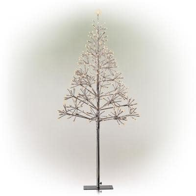 53/61 in. Tall Indoor/Outdoor Artificial Christmas Tree with LED Lights, Silver
