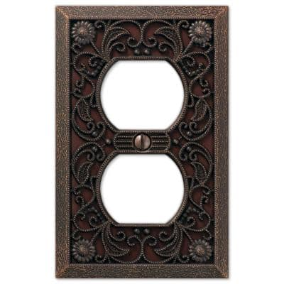 Filigree 1 Gang Duplex Metal Wall Plate - Aged Bronze