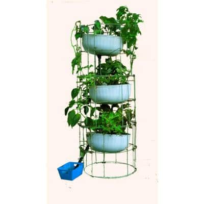 Grow Anything Anywhere Tower 12 in. x 55 in. Antique Green Steel Mesh Planter