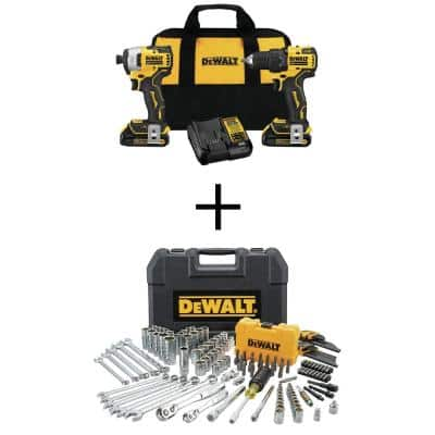 ATOMIC 20-Volt MAX Li-Ion Brushless Cordless Compact Drill/Impact Combo Kit (2-Tool) with Mech Tool Set (142-Piece)