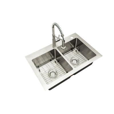 All-in-One Tight Radius Stainless Steel 33 in. 18-Gauge Double Bowl Dual Mount Kitchen Sink with Spring Neck Faucet