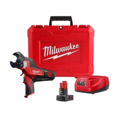 M12 12-Volt Lithium-Ion Cordless 600 MCM Cable Cutter Kit with One 3.0Ah Battery, Charger and Hard Case
