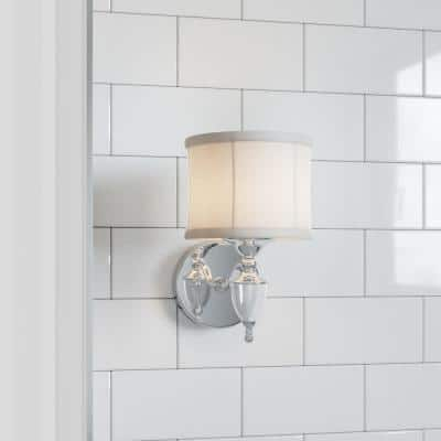 Waterton 1-Light Chrome Sconce with White Fabric Shade