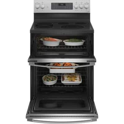 Profile 30 in. 6.6 cu. ft. Double Oven Electric Range with Self-Cleaning Convection Oven in Stainless Steel