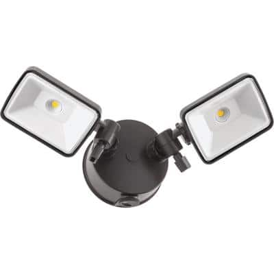 Contractor Select OLF 25-Watt Bronze Dusk to Dawn Integrated LED Outdoor 2-Square Head Flood Light