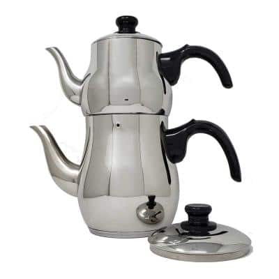 10-Cup Turkish Samovar Style Stainless Steel Double Handle Teapot Tea Maker Kettle 1.1 L and 2.5 L