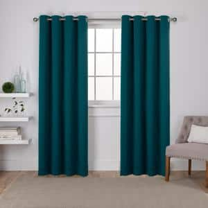 Sapphire Teal Thermal Grommet Blackout Curtain - 52 in. W x 84 in. L (Set of 2)