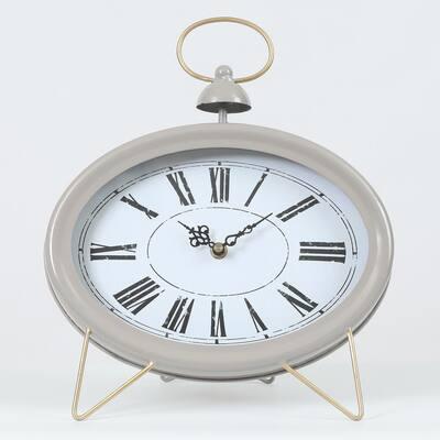 Gray Oval Decorative Table Clock