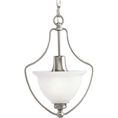 Madison Collection 1-Light Brushed Nickel Pendant with Etched Glass