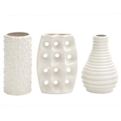 White Stoneware Modern Decorative Vase (Set of 3)
