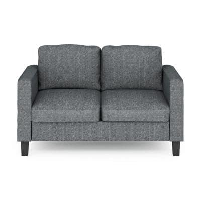 Bayonne 54.1 in. Gunmetal Polyester 2-Seater Loveseat with Square Arms