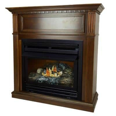 27,500 BTU 42 in. Convertible Ventless Propane Gas Fireplace in Cherry