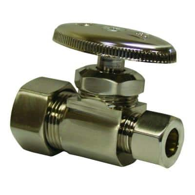 Water Supply Straight Stop 5/8 in. Compression Inlet x 3/8 in. Compression Outlet in Brushed Nickel