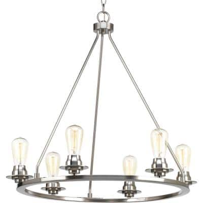 Debut Collection 6-Light Brushed Nickel Farmhouse Chandelier Light