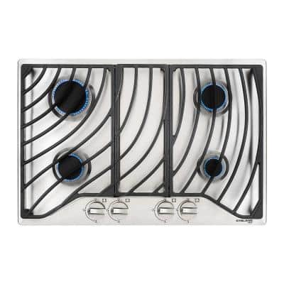 30 In. Built-in Gas Cooktop in Stainless Steel with 4 Burner GH1304SF Gas Hob, Drop in Gas Cooker NG/LPG Convertible