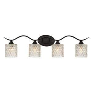 Bordeaux 31.5 in. 4-lights Matte Black Vanity Light with Cut Crystal Glass Shade
