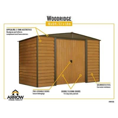 Woodridge 6 ft. W x 5 ft. D Wood-grain Galvanized Metal Storage Building