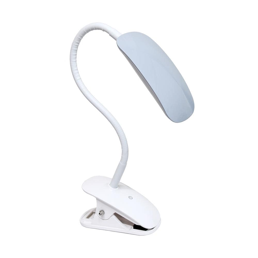 Simple Designs 21 5 In Rounded Gray Flexi Led Clip Light Desk Lamp Ld2021 Gry The Home Depot