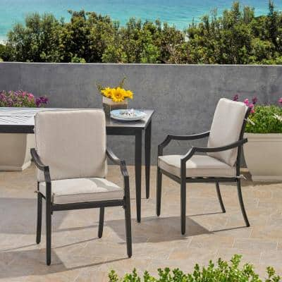 San Diego Matte Black Removable Cushions Aluminum Outdoor Dining Chair with Light Beige Cushion (2-Pack)