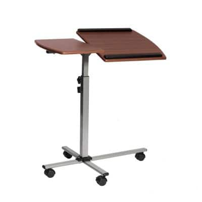 30 in. Rectangular Mahogany/Silver Laptop Desk with Adjustable Height Feature