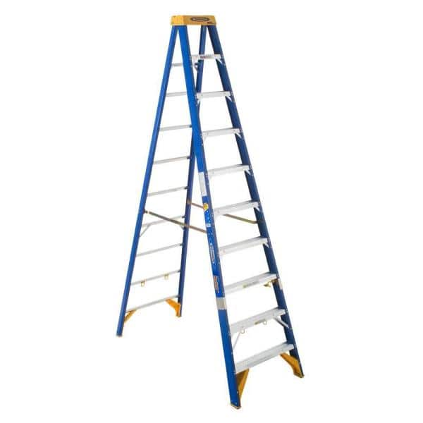 Werner 10 Ft Fiberglass Electricians Jobstation Step Ladder With 375 Lb Load Capacity Type Iaa Duty Rating Obel10 The Home Depot